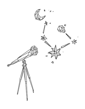 Low poly illustration of a telescope against a starry sky and the moon. Vector. Outline drawing. Retro style. Background, symbol, emblem for the interior. Business metaphor.