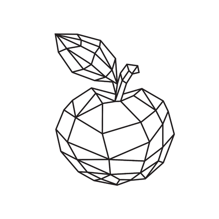 Low poly illustration of a tasty apple. Vector. Outline drawing. Retro style. Background, symbol, emblem for the interior. Business metaphor. Çizim