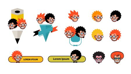 Cartoon characters geeks in a flat style. Vector image isolated on white background. Comics logo of the company. Avatar, icons of characters for print and site. Geek characters for the company.