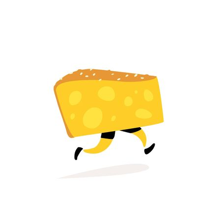 Illustration of running cheese. Vector. Character yellow cheese. Icons for the site on a white background. Sign, logo for the store or cheese factory. Dairy product delivery.