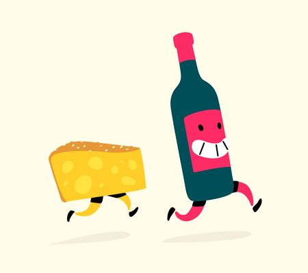 Illustration of running cheese and a bottle of wine. Vector. Characters drink and snack. Icons for the site on a light background. Sign, logo for a wine shop or cheese factory. Alcohol delivery. Drinking culture.
