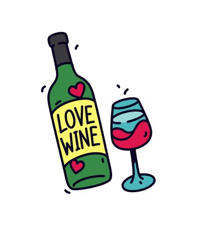 Illustration of a bottle of wine and a glass. Vector. Sticker or badge for wine lovers. The inscription on the bottle: Love wine. Logo for the store alcoholic beverages.