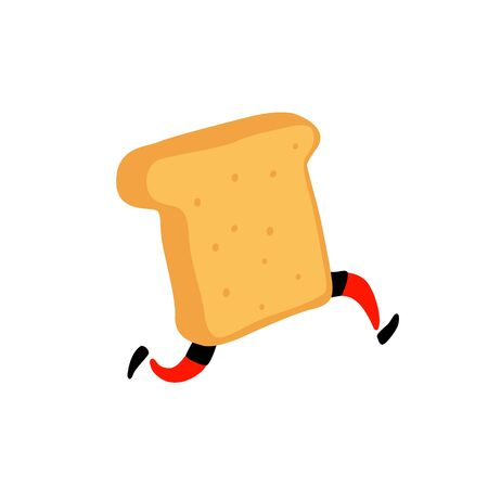Illustration of a running toaster. Running a piece of bread. Vector. Crunchy character with legs. Icon for the site. Sign, logo for the store. Delivery of fresh bakery products.