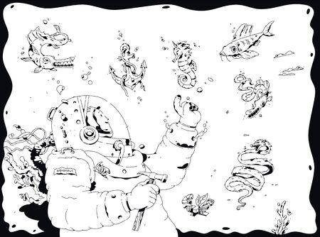 Illustration of a diver, aquanaut. Vector. The explorer of the ocean depths surrounded by marine inhabitants. Outline cartoon, black and white style. Fishes meet scientist discoverer.