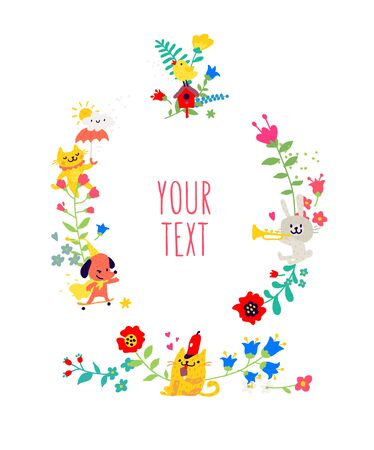 Drawn animals and floral elements. Vector. Animals play among flowers. Childrens cartoon, doodle style. Illustration for kindergarten or club. Summer, spring and positive mood.