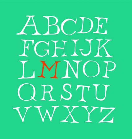 Set of letters of the English font. Vector. Alphabet of latin letters. The style is free, arbitrary, inscription of characters by hand. Something like a classic font. Çizim