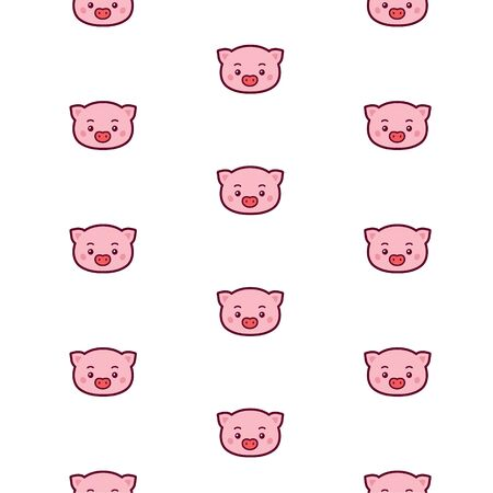 Pig head pattern. Vector. Icons for the site. Pattern of pork head. Sign, logo for the store and childrens studio. Drawing for wrapping paper and fabric. Childens goods.