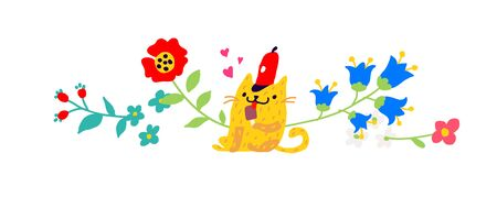 Illustration of a yellow cat in a red cap with an ice cream. Vector. Childrens cartoon, doodle style. Illustration for postcard or congratulations. Institutions for children. Flower ornament.