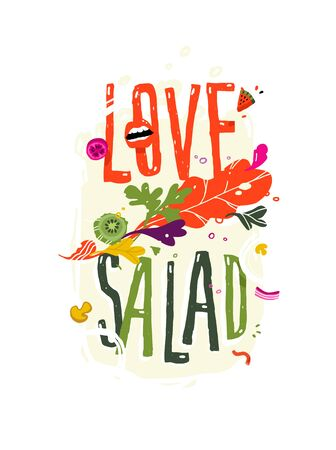 Illustration with the inscription love salad. Vector. Pattern from eco products. Image for a smoothie bar menu or a vegetarian cafe. Flat style, all elements are isolated.