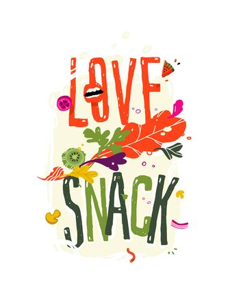 Illustration with the inscription love snack. Vector. Pattern of eco products. Image for a smoothie bar menu or a vegetarian cafe. Flat style, all elements are isolated. Ilustração