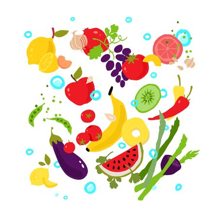 Illustrations of vegetables and fruits. Vector. Pattern from eco products. Icons for a menu of smoothies bar or vegetarian cafe. Flat style, all elements are isolated on a white background.