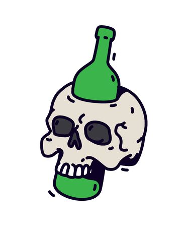 Illustration of a skull with a bottle. Vector. A green bottle pierces a skull. Motivational inscription not to drink. Alcohol is death.