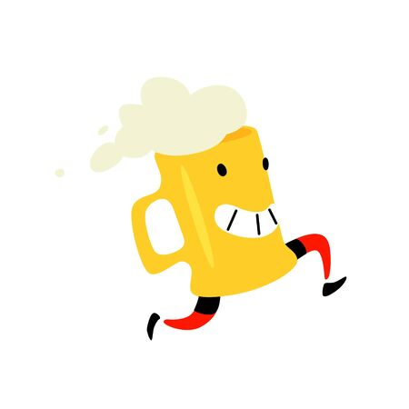 Illustration of a running mug of beer. Vector. Foamy drink. Icon for site on white background. Sign, logo for a store or brewery. Delivery of delicious beer. Çizim