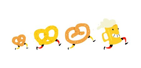 Illustration of a beer mug and bagels. Vector. Icons for the site. Character pretzel with salt and a bagel for beer. Signs, logo for the store and packaging. Delicious beer snack. Çizim