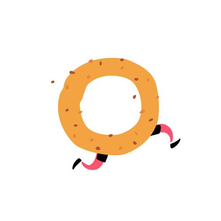 Illustration of a tasty bagel. Vector. Character with legs. Icon for site on white background. Sign, logo for the store. Delivery of fresh bakery and confectionery. Flat style. Çizim
