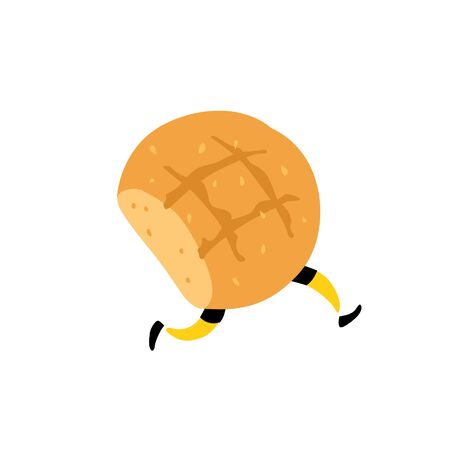 An illustration of a tasty loaf of bread. Vector. Character with legs. Icon for site on white background. Sign, logo for the store. Delivery of fresh bakery and confectionery. Flat style.