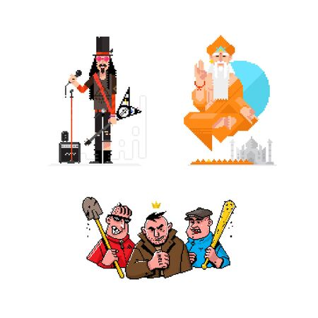 Illustrations of pixel characters musician, yogi, gangsters. 8 bit heroes for games and posters. Icons for your sites and layouts.
