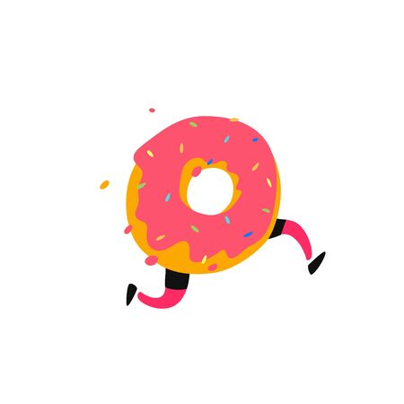 Illustration of a running donut. Vector. Sweet donut character with legs. Icon for site on white background. Sign, logo for the store. Delivery of fresh bakery and confectionery. Flat style.