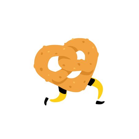 Illustration of a running bagel. Running pretzels. Vector. Crunchy character with legs. Icon for the site. Sign, logo for the store. Delivery of fresh bakery products. Çizim