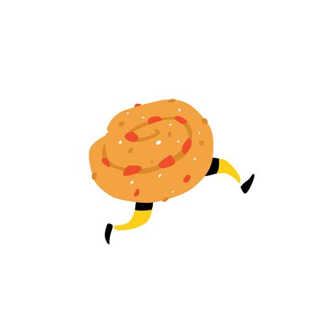 Illustration of a tasty bun with raisins. Vector. Sweet character with legs. Icon for site on white background. Sign, logo for the store. Delivery of fresh bakery and confectionery. Flat style. Çizim