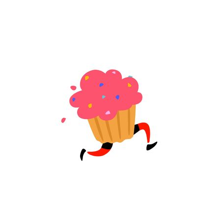 Illustration of a tasty muffin. Vector. Sweet character with legs. Icon for site on white background. Sign, logo for the store. Delivery of fresh bakery and confectionery. Flat style. Çizim