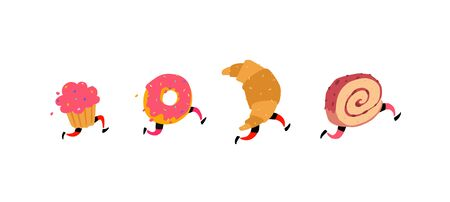 Illustration of running cake, donut, croissant and roll. Vector. Icons for the site on a white background. Signs, logo for the store. Delivery of fresh pastry. Characters for the bakery.
