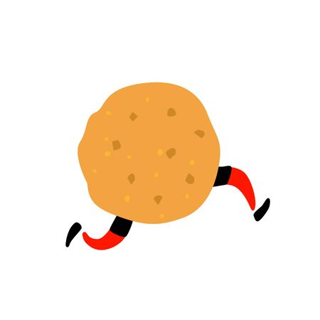 Illustration of a delicious cookie. Vector. Character with legs. Icon for site on white background. Sign, logo for the store. Delivery of fresh bakery and confectionery. Flat style.