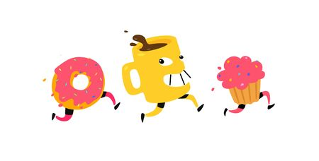 Illustration of running snacks. Vector. Characters cup of coffee, donut, muffin. Icons for the site on a white background. Sign, logo for a shop, confectionery, coffee house or bakery. Food delivery.
