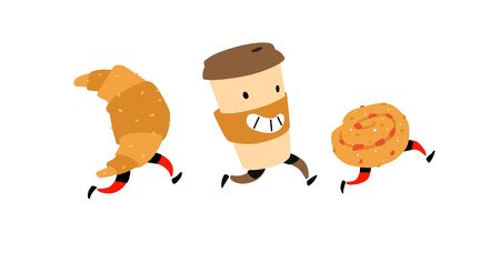 Illustration of running snacks. Vector. Characters glass of coffee, croissant, bun. Icons for the site on a white background. Sign, logo for a shop, confectionery, coffee house or bakery. Food delivery.