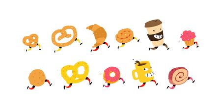 Illustration of running snacks. Vector. Characters glass of coffee, croissant, bun and others. Icons for the site on a white background. Sign, logo for a shop, confectionery, coffee house or bakery. Food delivery.