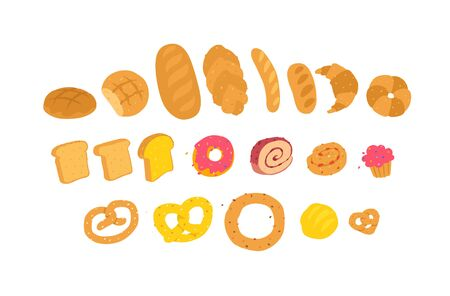 Illustration of baked goods. Vector. Icons for the site. Delivery of fresh bakery and confectionery. Signs, logo for the store and packaging. Delicious bread, bagels and pastries.