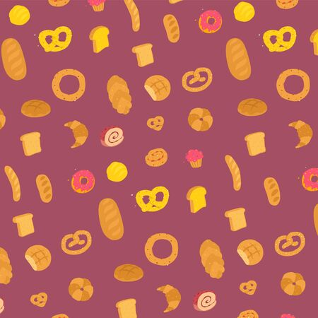 Bakery pattern. Vector. Characters with legs. Ornament for the site. Delivery of fresh bakery and confectionery. Pattern for paper and packaging. Bakery and shop.