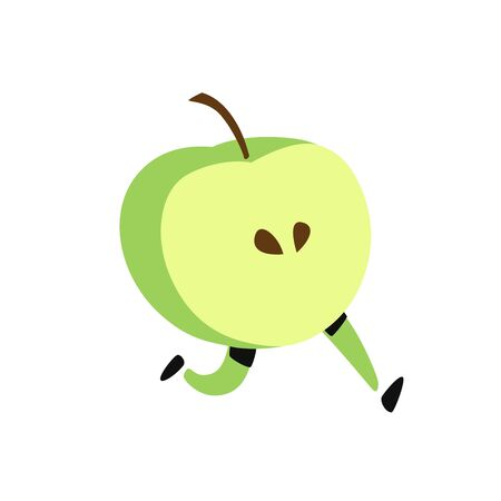 Illustration of a running apple. Vector. Icon of tasty green fruit. Flat cartoon style. Delivery service logo. Emblem for eco products shop.