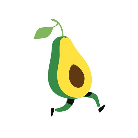Illustration of a running avocado. Vector. Icon of tasty green fruit. Flat cartoon style. Delivery service logo. Emblem for eco products shop.