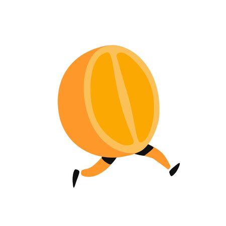 Illustration of a running orange. Vector. Icon of tasty orange fruit. Flat cartoon style. Delivery service logo. Emblem for eco products shop.