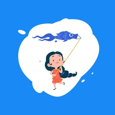 A girl launches a kite in the form of a fish. Vector. Air and water. Shop of children's goods and toys. Ilustração
