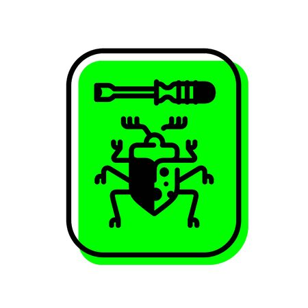 Beetle icon with a screwdriver. Vector. Repair of computer equipment. Virus protection.