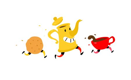 Running coffee pot with a cup of coffee and cookies. Vector. Funny characters for a coffee shop. Logo for the teahouse. Tea and coffee shop. 일러스트