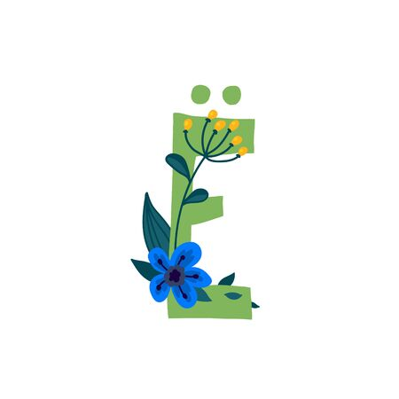 Letter of the Russian alphabet. Vector. Slavic Cyrillic font. Beautiful color letters in plants and flowers. Botany and floristry. Decorative logo.