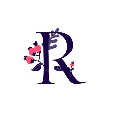 Latin letter R in flowers and plants. Vector. Letter in decorative elements for inscriptions. Company logo. Poster or monogram.
