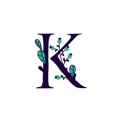 Latin letter K in flowers and plants. Vector. Letter in decorative elements for inscriptions. Company logo. Poster or monogram. Ilustração