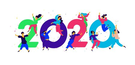 Illustration New Year 2020. Vector. People tweet and have fun around numbers. Youth celebrate Christmas. Employees in the office are going to celebrate. Flat style. Illustration for the calendar and site.