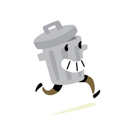 Illustration of a trash can. Vector. Icon of a cheerful running tank with slops. Character for stickers, garbage cleaners. It is forbidden to litter. Take care of nature, take out the trash. Mascot. Иллюстрация