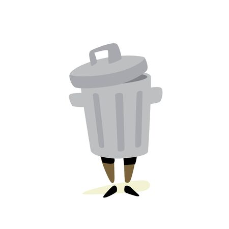 Illustration of a trash can. Vector. Character for stickers, garbage cleaners. It is forbidden to litter. Take care of nature, take out the trash. Mascot. Illusztráció