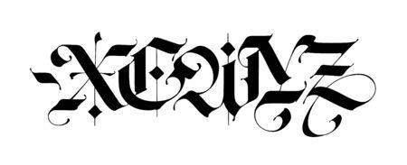 X, e, w, y, z im gotischen Stil. Vektor. Buchstaben und Symbole auf weißem Hintergrund. Kalligraphie mit schwarzem Filzstift. Lateinische Buchstaben des Mittelalters. Elegante Schriftart für Tattoos. Altgermanischer Stil. Vektorgrafik