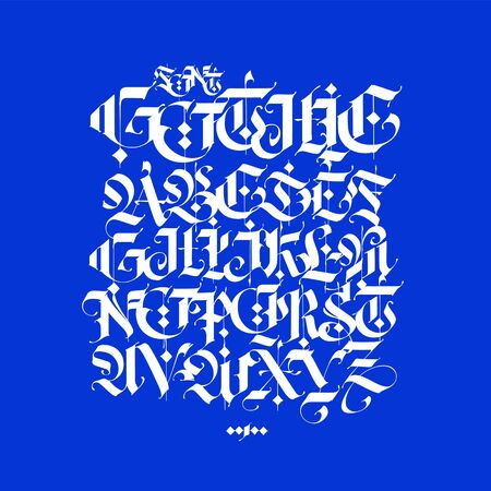 Gothic, English alphabet written in chalk. Vector font for tattoo and commercial purposes. Elements isolated on a blue background. Medieval latin letters are kept separately.