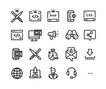 Icons on the topic of IT technology. Vector. Set of icons developers of applications, sites and software. Simple contour style. Pixel Perfect. Symbols and signs of the computer world. Illustration