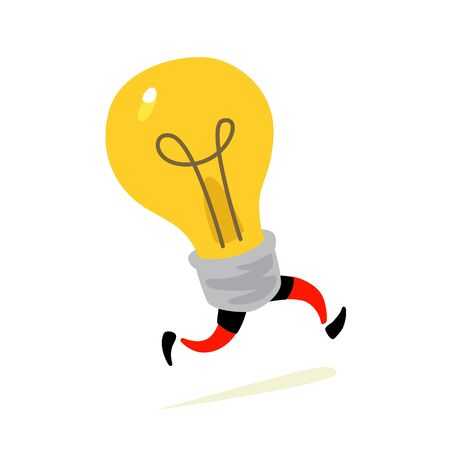 Illustration of a running light bulb. Vector. Character icon of a yellow lamp, light source. Metaphor of an idea coming to mind. Creative thought rushes to the rescue. Vectores
