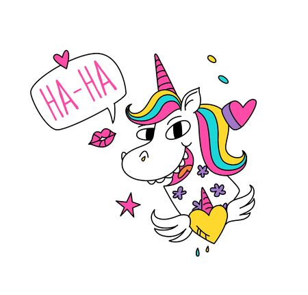 Illustration of a magic unicorn with colored mane. Vector. Cartoon character funny horse with a horn. Kawaii character. Existing mythical creature with a heart. Congratulations to the girls. Иллюстрация