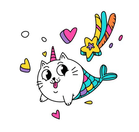 Illustration of a magic cat in the form of a mermaid. Vector. Cartoon character pussy in the image of a unicorn with hearts and a star. Kawaii character. Mythical creature. Sticker for girls. Illusztráció